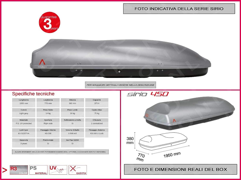 Proposteonline portabagagli Box Tetto Auto 195 x 77 x 38 cm per Audi q3 2012  con Barre Portapacchi portatutto ho18zc