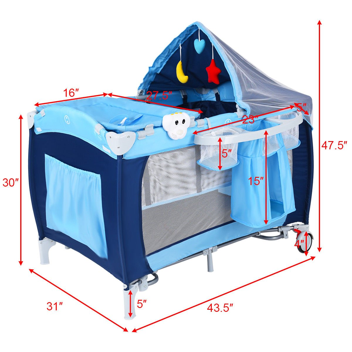 New Foldable Baby Crib Playpen Travel Infant Bassinet Bed Mosquito Net Music w Bag by Costway (Image #6)