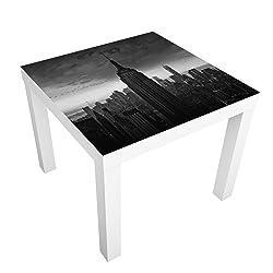 Bilderwelten Table Basse Design - New York Rockefeller View - 55x55x45cm, Couleur de la Table: Table de Blanc, Dimension: 55 x 55 x 45cm
