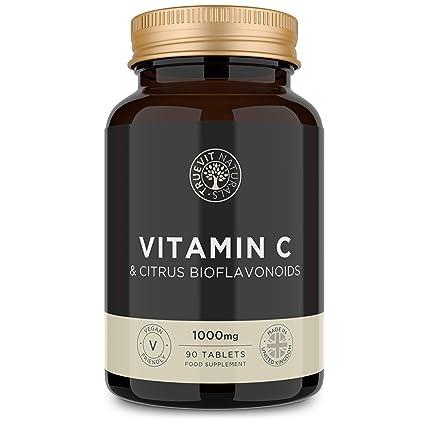 Vitamina C Tabletas de 1000 mg con Bioflavonoides de Fruta Cítrica ...