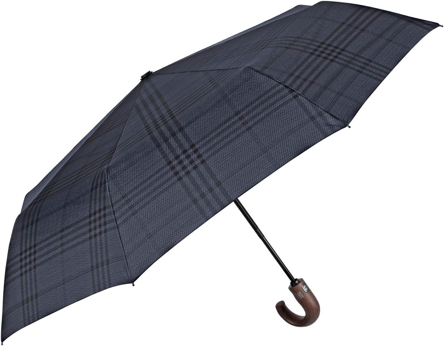 Parapluie Poign/ée Courbe en Bois de Qualit/é PFC Free Perletti Technology Diam/ètre 104 cm Bleu Compact R/ésistant Solid Parapluie Pliant Tartan Homme Ouverture et Fermeture Automatique