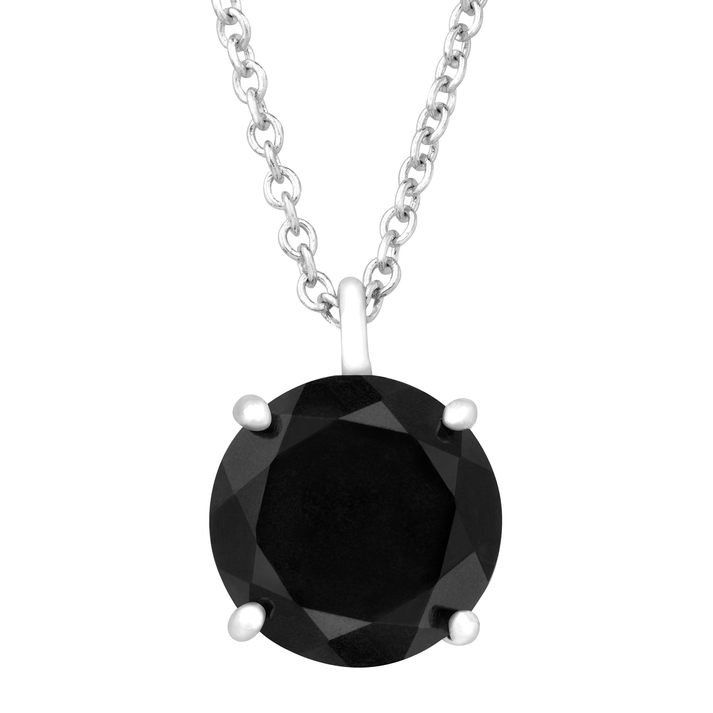 10 mm Certified Natural Black Jade Pendant Necklace in Sterling Silver by Finecraft