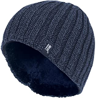 b6cc62ef3e7 Heat Holders - Men s Thermal Fleece lined Ribbed knitted winter hat 3.4 tog  - One Size