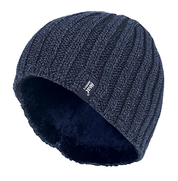 30d930ea726 Colour  Heat Holders - Men s Thermal Fleece lined Ribbed knitted winter hat  3.4 tog - One Size
