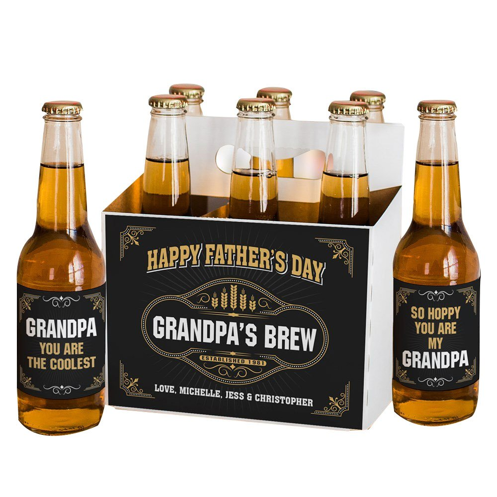 GiftsForYouNow Fathers Day Brew Personalized Beer Labels and Carrier Set by GiftsForYouNow