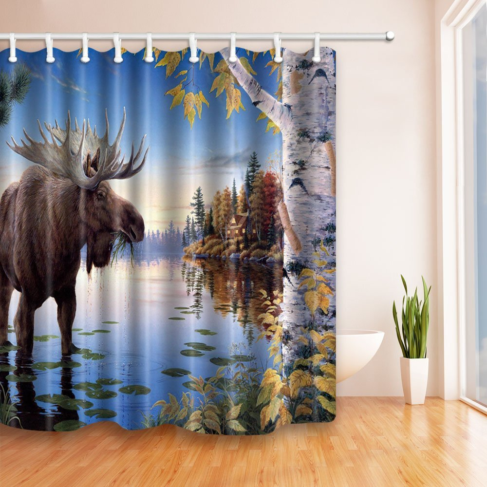 HiSoho Moose birch trees by the river in blue 71X71 inches Mildew Resistant Polyester Fabric Shower Curtain Set Fantastic Decorations Bath Curtain