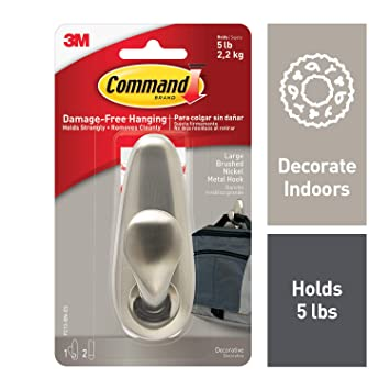 Command Metal Hook, Decorate Damage-Free, Indoor Use (FC13-BN-ES)