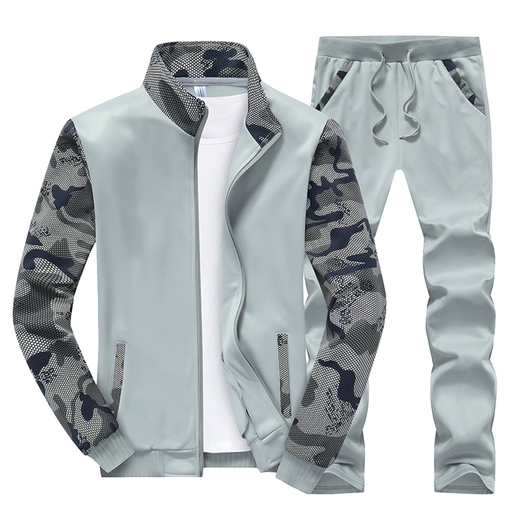 Sun Lorence Men's Sports Camo Sweatshirt With Jogger Pants Sweat Suit Tracksuit Set Lightgrey XXL
