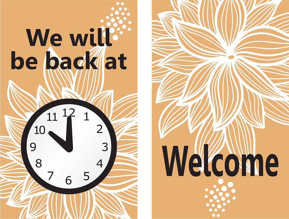 Accuform MPCM509 Dura-Plastic Double-Sided''Be Back'' Clock Sign, Legend''WE WILL BE BACK AT (CLOCK GRAPHIC) / WELCOME'', 8'' Length x 5'' Width x 0.062'' Thickness, Black/White/Tan