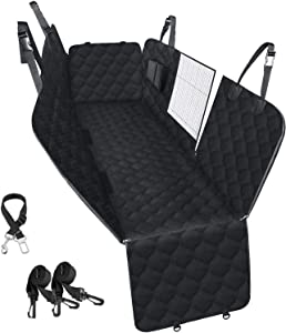 PETICON Car Seat Cover for Dogs, 100% Waterproof Dog Seat Cover for Back Seat with Mesh Window, Scratchproof Dog Car Hammock for Cars, Trucks, SUVs, Jeep, Nonslip Back Seat Protection