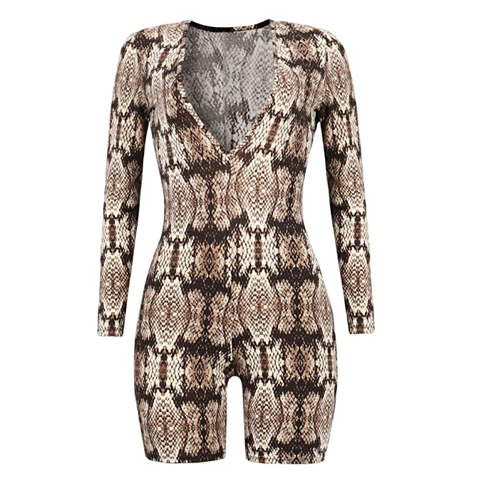 61b51aba3df9 CHoppyWAVE Women Snakeskin Print Jumpsuit Sexy Deep V Women Long Sleeve  Slim Fit Shorts Romper Coffee