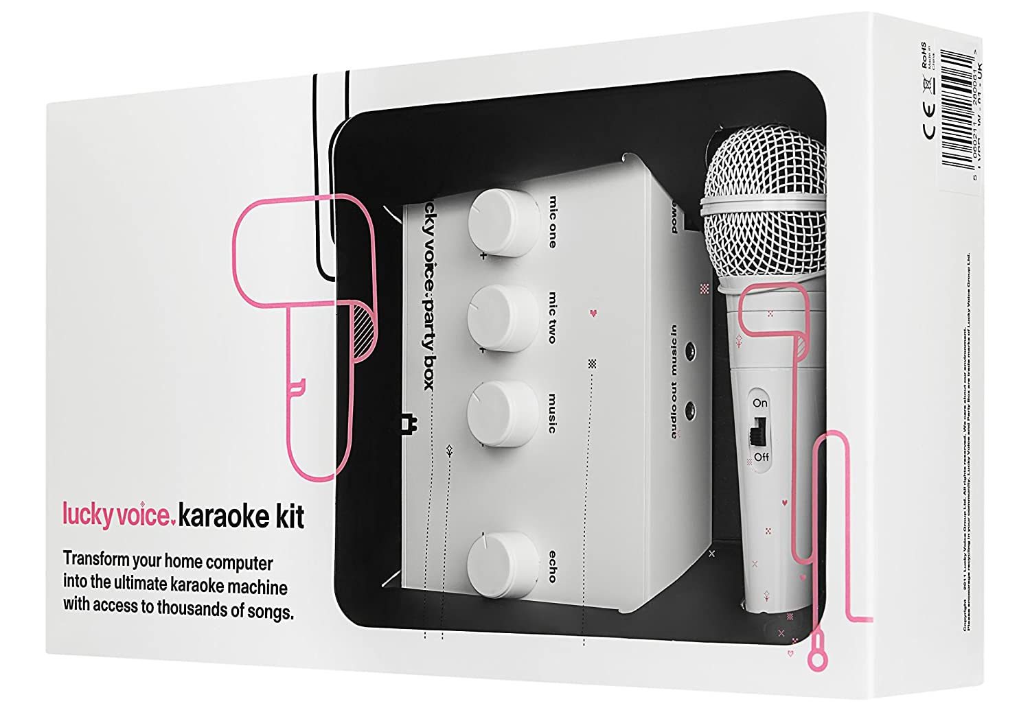 Lucky Voice Karaoke Machine System With White Microphone For PC/Ipad/iOS  With Access to 9000 Top Songs