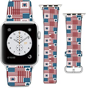 Compatible with Apple Watch Wristband 38mm 40mm, (4Th of July, USA Independence Day Pattern) PU Leather Band Replacement Strap for iWatch Series 5 4 3 2 1