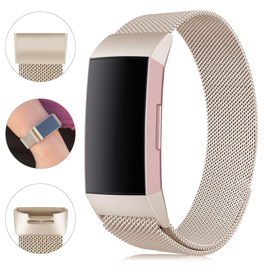 Find-MyWay Replacement Compatible with Fitbit Charge 3 Bands/Charge 3 SE Metal Bands Wristband Accessory Breathable Sport Bracelet Strap Small & Large for Women Men Silver Rose Gold 10 Colors by Find-MyWay