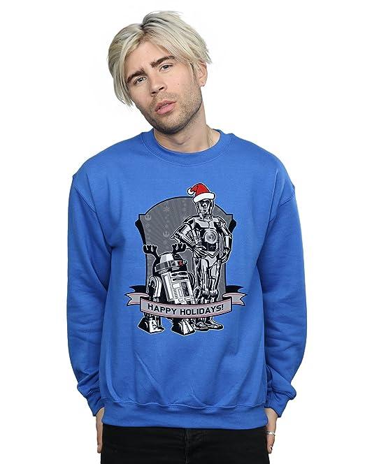 STAR WARS Hombre C-3PO and R2-D2 Christmas Holidays Camisa De Entrenamiento: Amazon.es: Ropa y accesorios