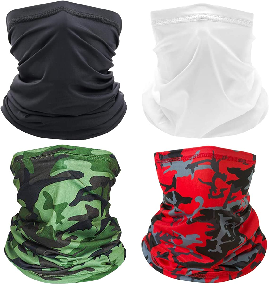 4 Pieces Face Mask Bandanas, UV Protection Bandana Neck Gaiter Headwear Bandana,Neck Gaiter Multi Scarf for Dust, Outdoors,Festivals,Sports Black