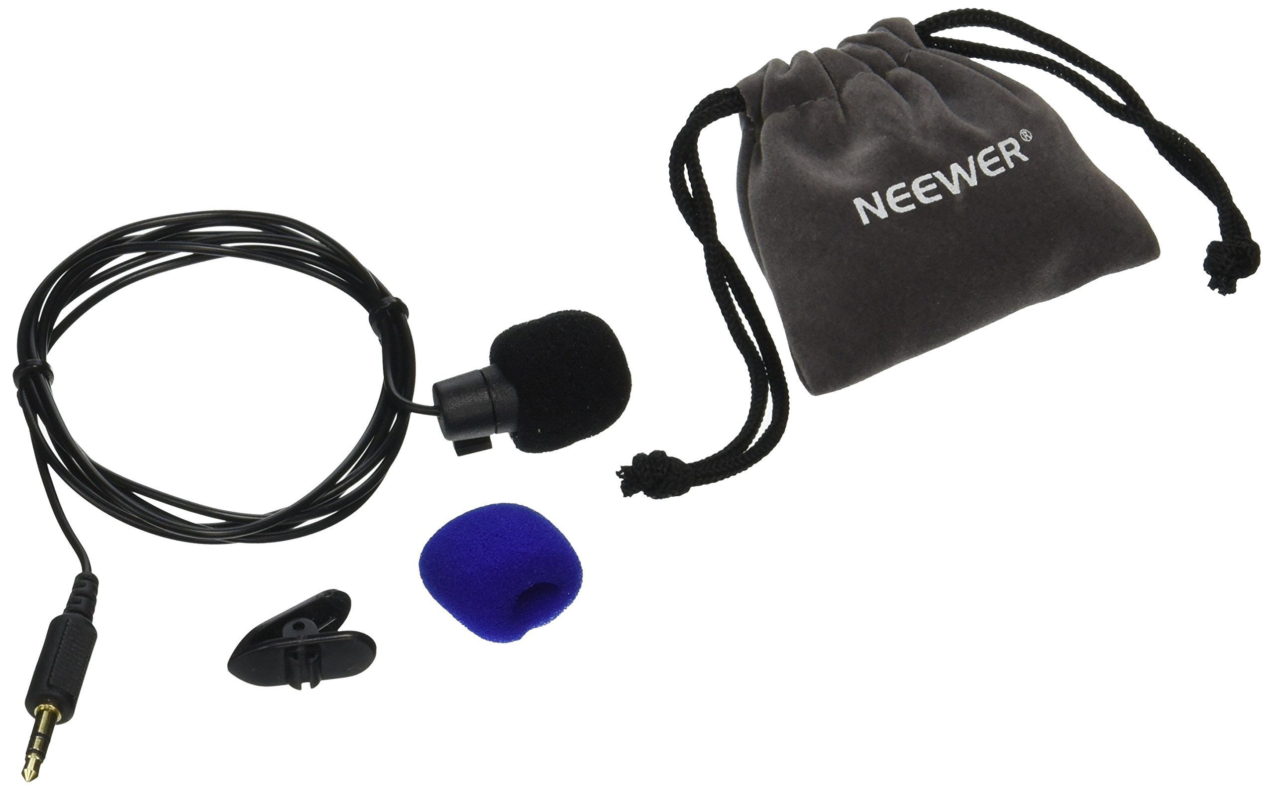 Neewer NW-802 3.5mm Deluxe Clip-on Lavalier Lapel Omnidirectional Microphone for iPhone 6S plus/6S/6 plus/6/5/5S,iPad 4/3/2,ipod Touch,Samsung Galaxy,Tablets,Laptop,PC,Camera and Youtube Video