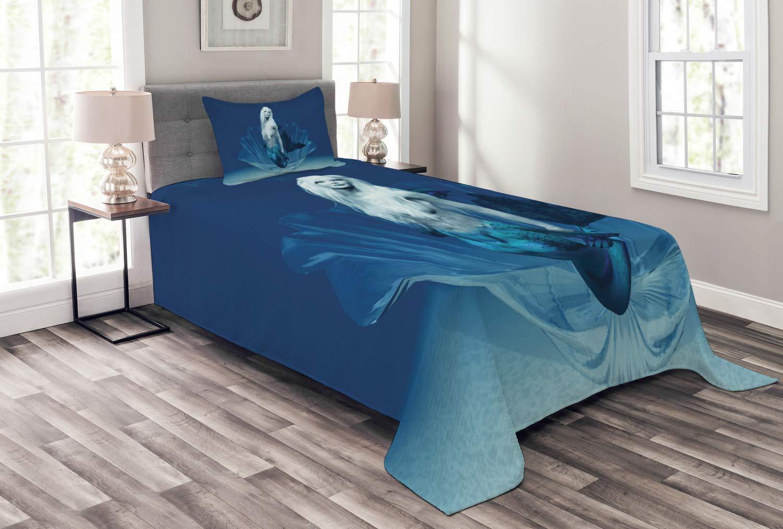 Ambesonne マーメイド ベッドスプレッド リアルなマーメイド 海の女王 ディープウォーター アクアティック ファンタジーデザイン アートワーク 装飾キルトカバーセット 枕カバー付き ブルーとホワイト ツイン bed_9101_twin B07HFBLX1J マルチ1 ツイン