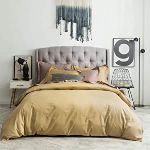 SUSYBAO 3 Pieces Duvet Cover Set 100% Natural Cotton King Size 1 Duvet Cover 2 Pillow Shams Solid Gold Luxury Quality Ultra Soft Breathable Lightweight Durable Fade Resistant Bedding with Zipper Ties