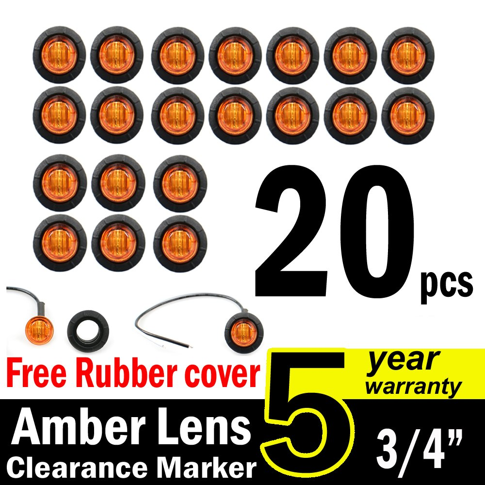 "( Pack of 20 ) TMH 3/4"" Inch Mount Amber LED Clearance Bullet Marker lights, Side LED marker lights for trailer Truck RV Car Bus Van US-Amber"