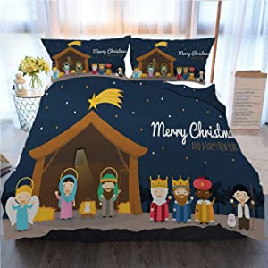 OTTOSUN Christmas Bedding 3 Piece Duvet Cover Sets,Christmas Nativity Scene with Holy Family and Three Wise Men,Home Luxury Soft Duvet Comforter Cover,Twin