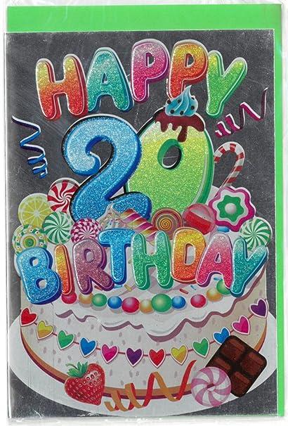 Tarjeta Felicitación cumpleaños Metal 20 años 12 x 17 cm 1pz ...