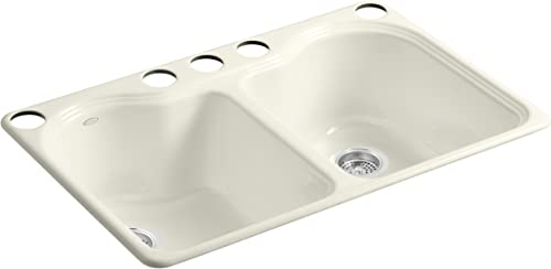 KOHLER K-5818-5U-96 Hartland Double Equal Undercounter Sink with Five-Hole Faucet Drilling, Biscuit
