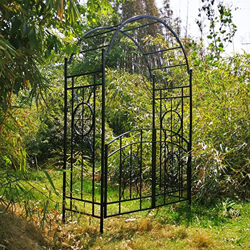 OUTOUR Garden Arch with Gate, 84H x 53D x 23W, Garden Arbor Arbour Archway for Climbing Plants Roses Vines, Outdoor Garden Lawn Backyard Patio, Black by OUTOUR