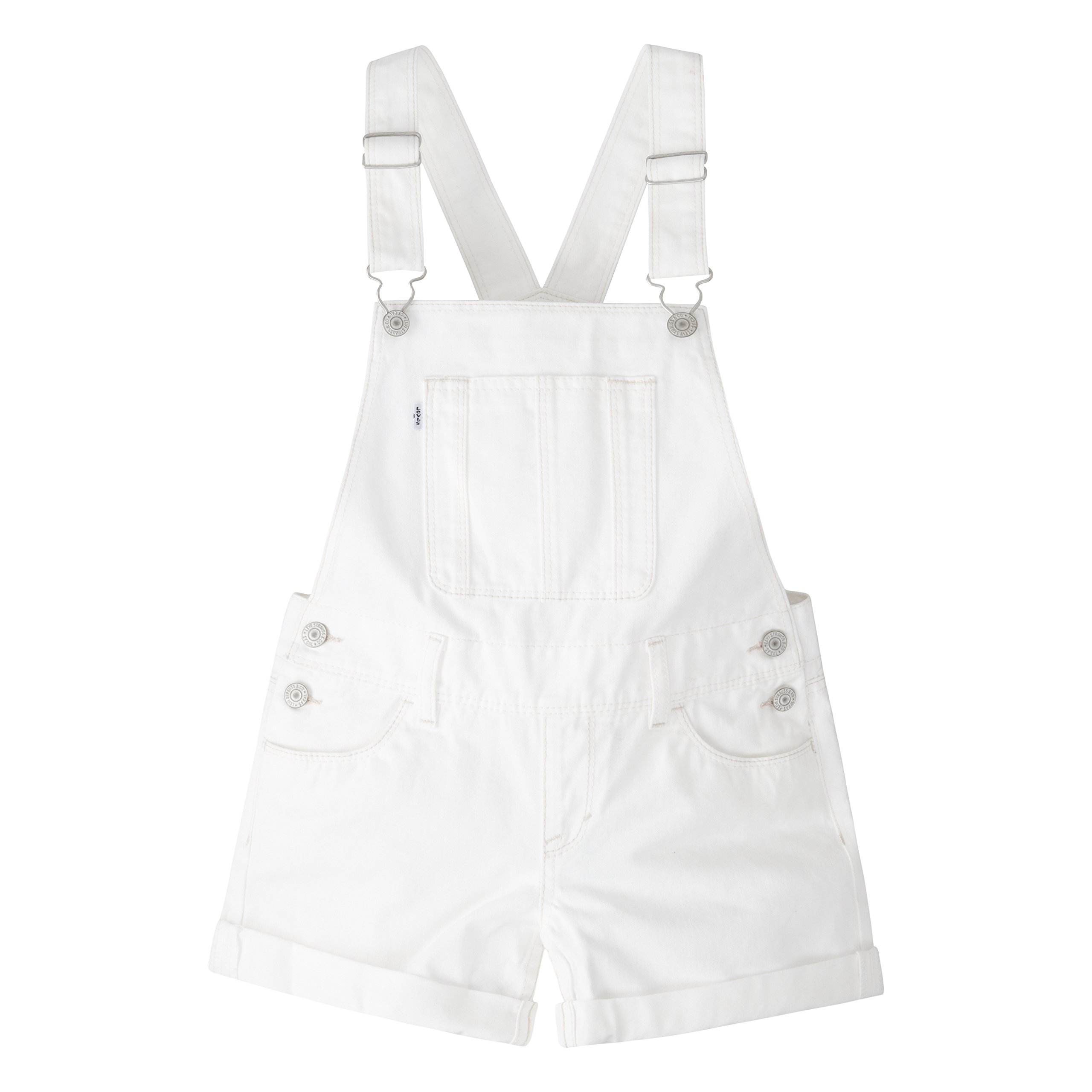 Levi's Big Girls' Denim Shortalls, White, 14