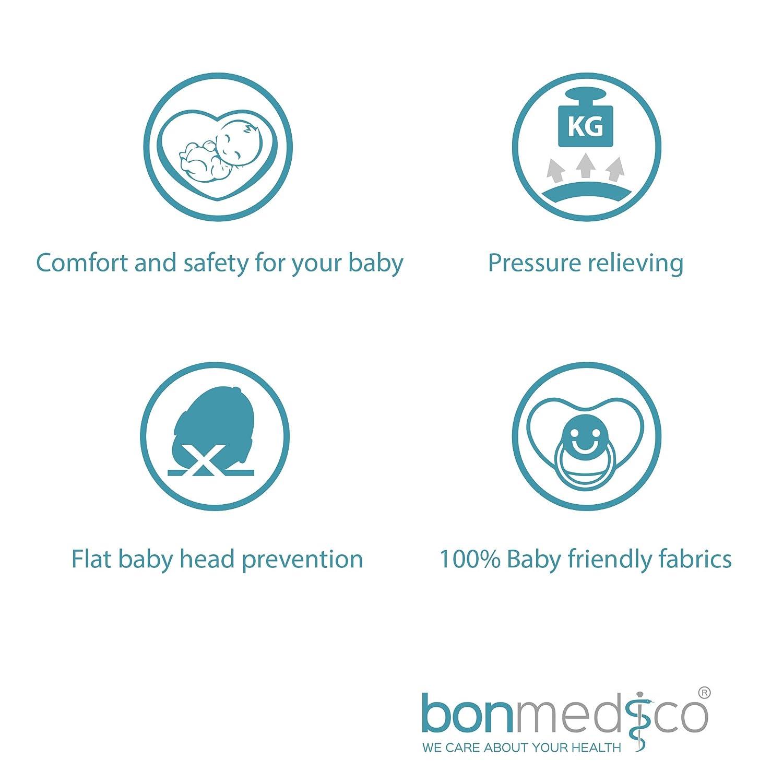 Bonmedico® Almohada Guardián para Bebé, Contra el Síndrome de Cabeza Plana (plagiocefalia posicional); almohada para el moldeo craneal y el ...