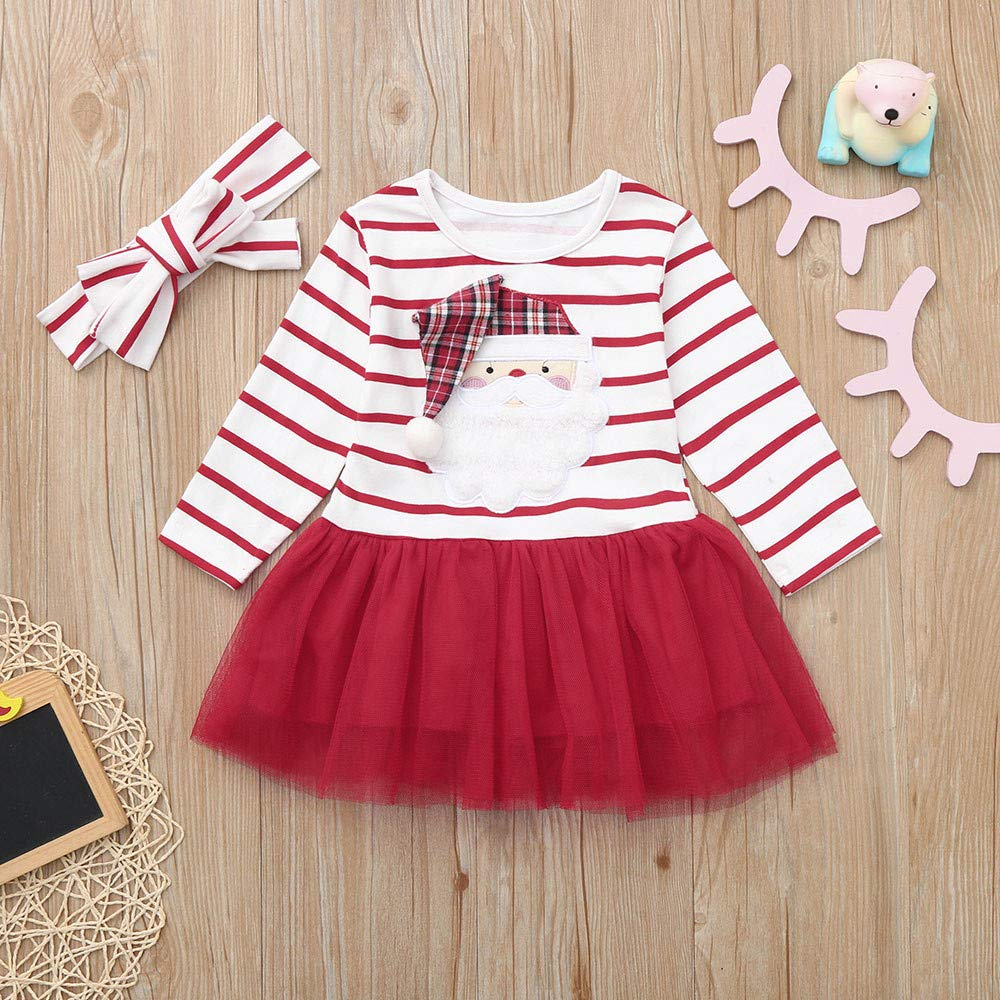 KONFA Toddler Baby Girl Cartoon Sant Claus Striped Dress 0-4 Years,Little Princess Long Sleeve Skirt Xmas Clothes Set
