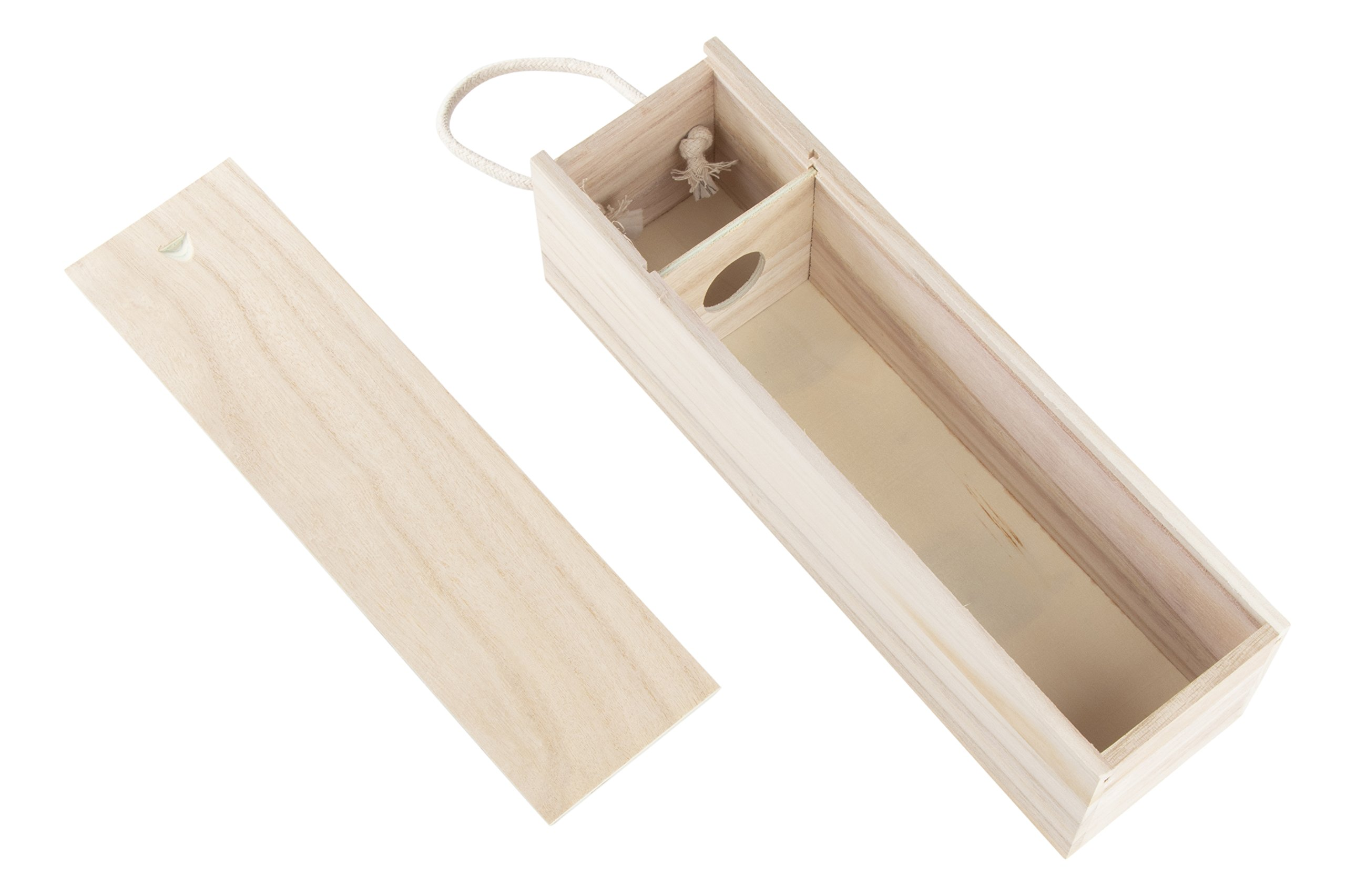 Juvale Wooden Wine Box - 2-Pack Single Wine Bottle Wood Storage Gift Box with Handle for Birthday Party, Housewarming, Wedding, Anniversary, 13.875 x 3.875 x 4 Inches by Juvale (Image #6)