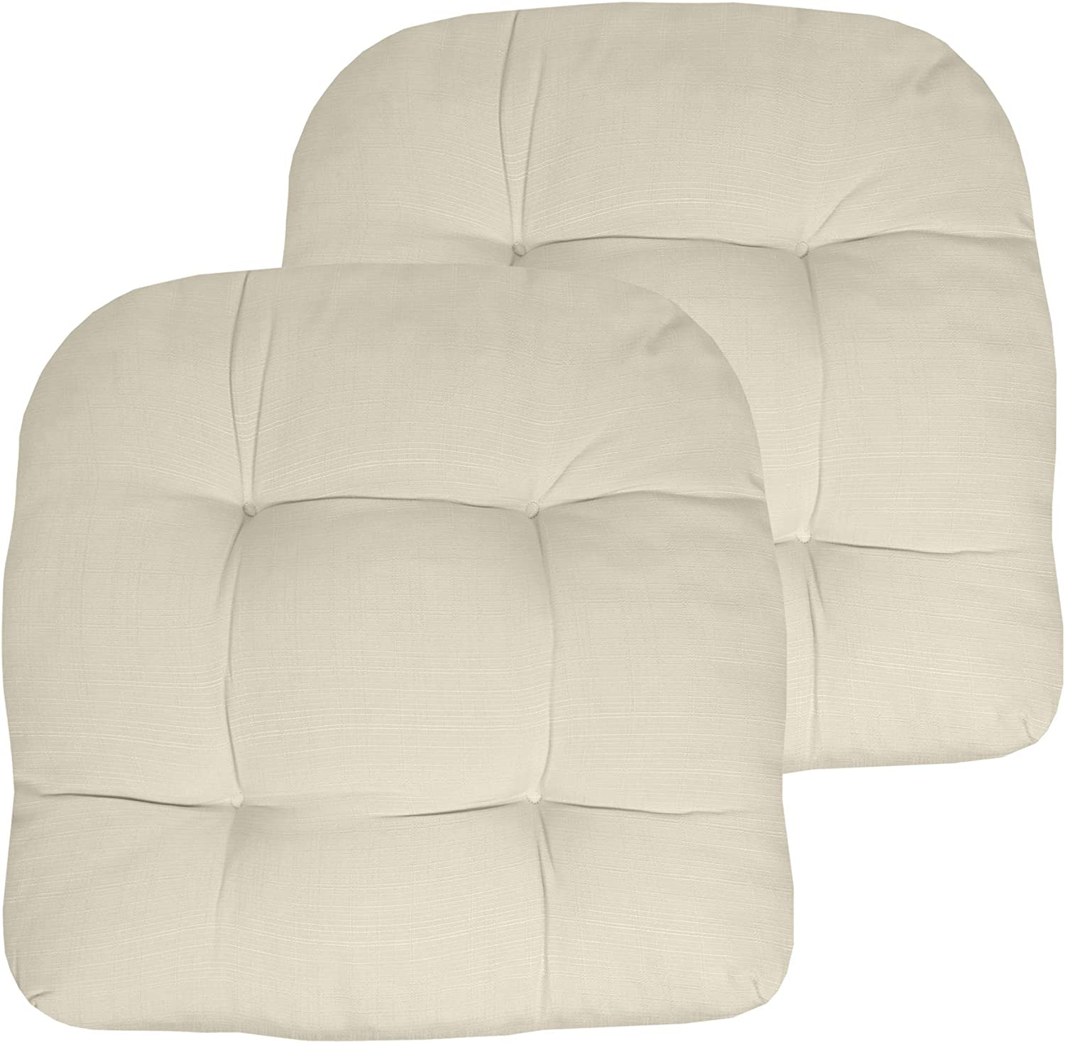 """Sweet Home Collection Patio Cushions Outdoor Chair Pads Premium Comfortable Thick Fiber Fill Tufted 19"""" x 19"""" Seat Cover, 2 Pack, Cream"""