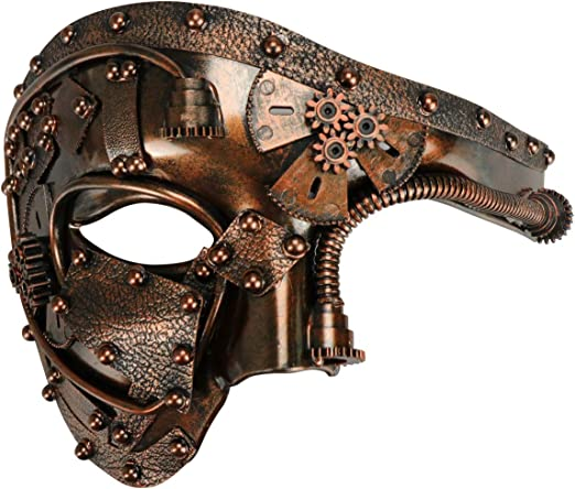 Steampunk Mask Antique Gold Masquerade Halloween Costume Eye Face Mask Gears