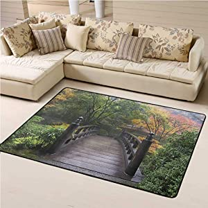 Rugs for Living Room Nature for Boys and Girl Room Bridge in Japanese Garden 4' x 6' Rectangle