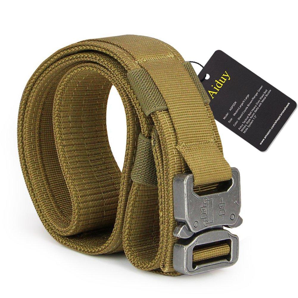 Aiduy Tactical Heavy Duty Waist Belt Shooters Belt with Cobra Buckle 1.5'' inch (Coyote Brown, Medium)