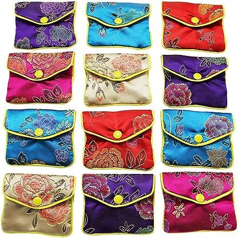 Multicolour AKORD Womens 12 x Jewellery Silk Purse Pouch Gift Bags Purse