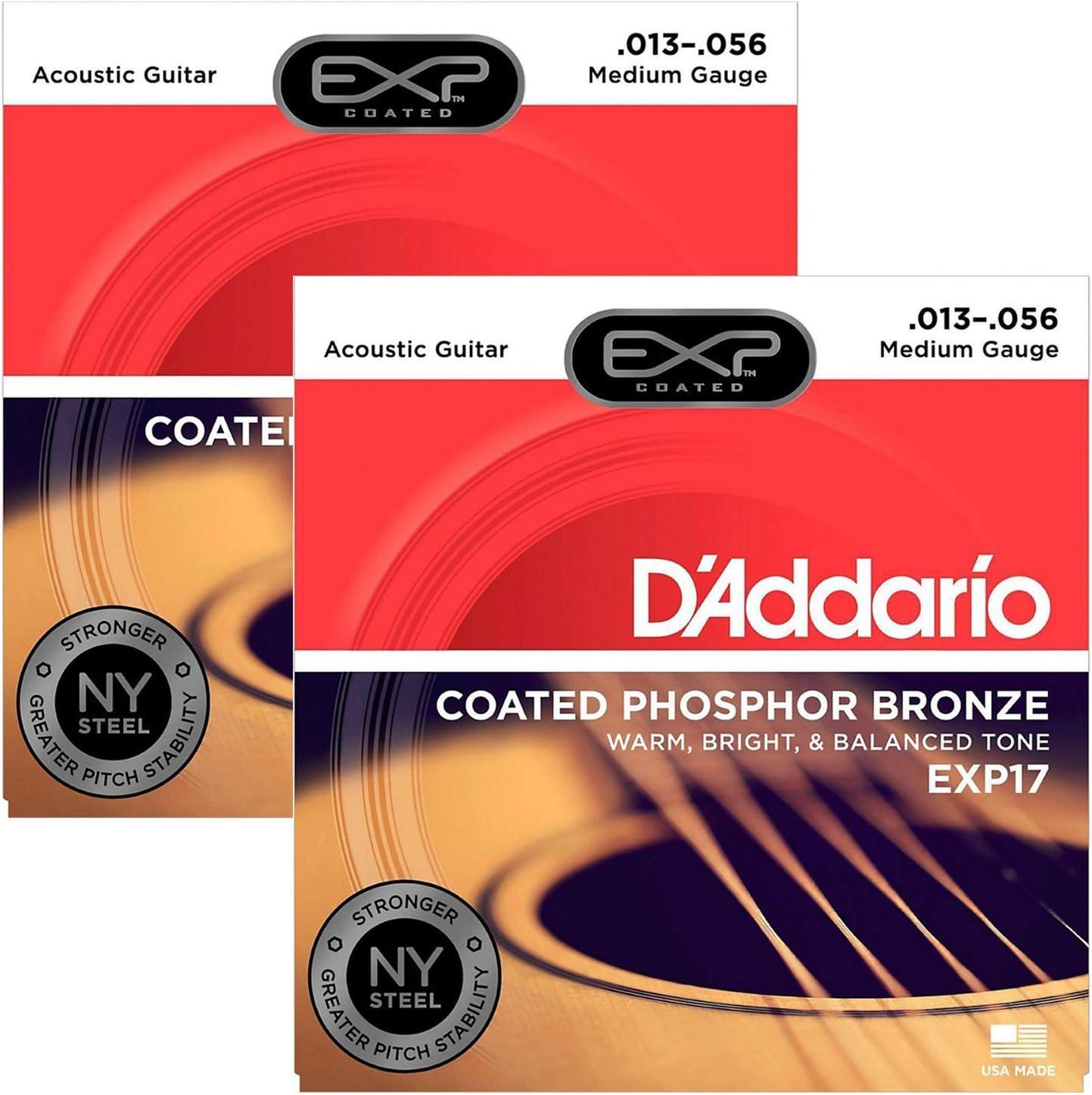 13-56 D/'Addario EXP17 Coated Phosphor Acoustic Guitar Strings Medium Coated