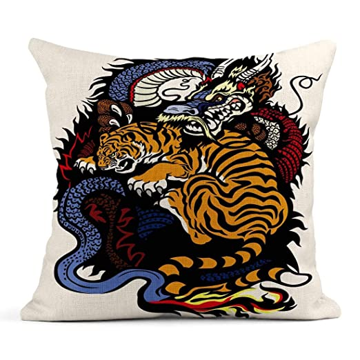Almohada de Tiro Dragón Chino y Tatuaje de Lucha contra el Tigre ...