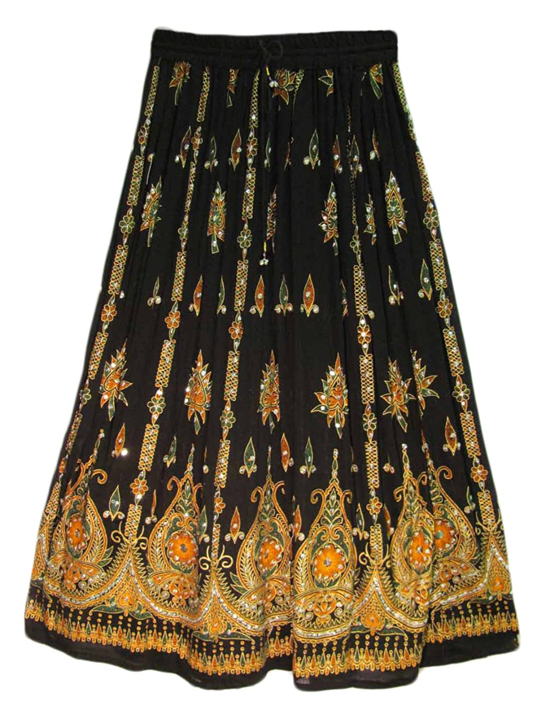 Womens Indian Sequin Crinkle Broomstick Gypsy Long Skirt (Black ...