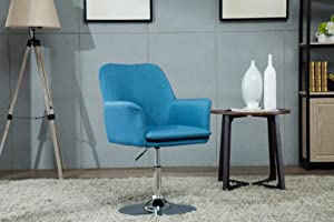 Porthos Home ZFC011A BLU Fabric Pedestal Swivel Office Desk Chair with Padded Arms and Adjustable Height, Easy Assembly, One Size, Blue