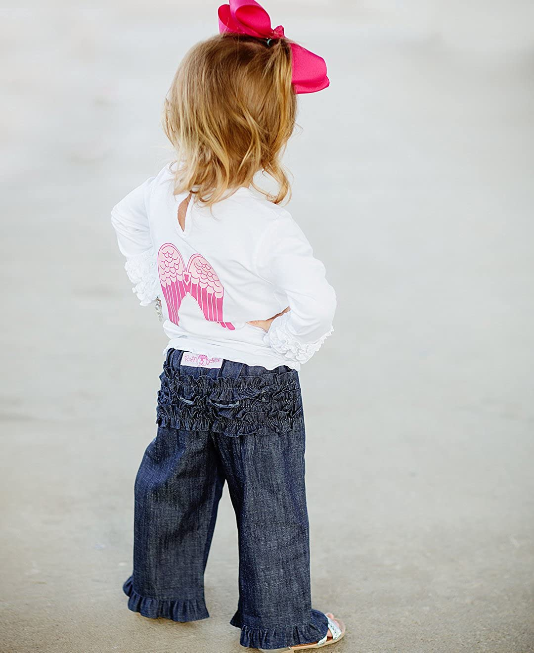 RuffleButts Baby//Toddler Girls Ruffled Denim Crawler Pants