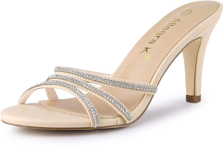 Women Kitten Elegant Rhinestone Pearls Heels Sandals Mules Ladies Slipper Shoes