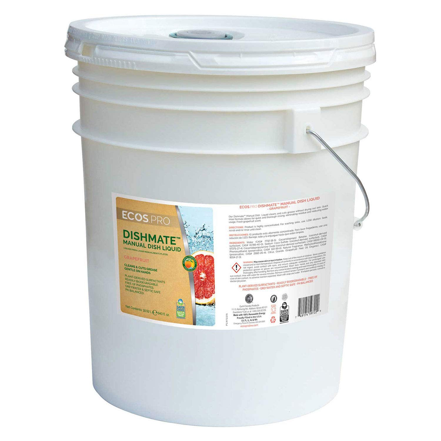 Dishmate Dishwashing Liquid, Grapefruit 5 Gallon Pail, Lot of 1 by Earth Friendly Products