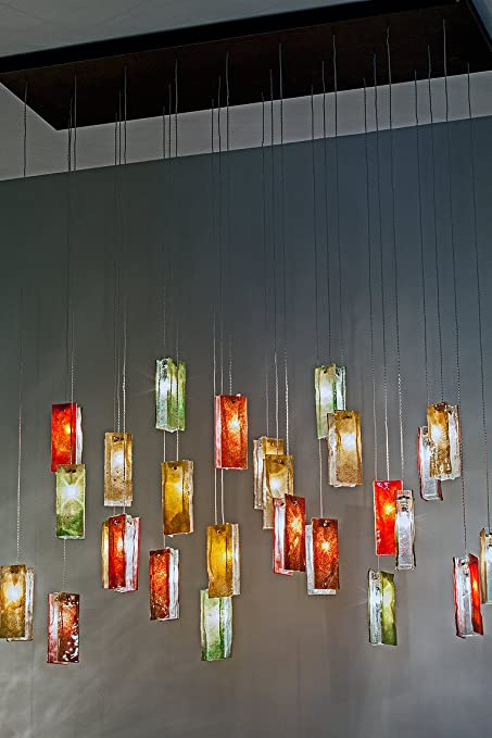 am studio lighting. AM Studio Lighting Autumn Leaves Light Fixture Glass Multi Pendant Chandelier 40 Units Of Red Amber Green And Clear Pendants Amazoncom Am