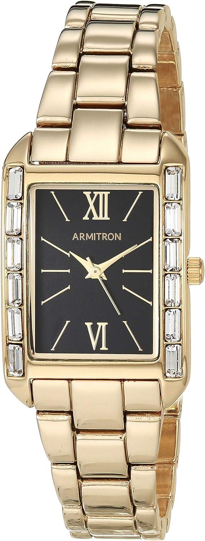 Armitron Women's Swarovski Crystal Accented Gold-Tone Bracelet Watch, 75/5764BKGP