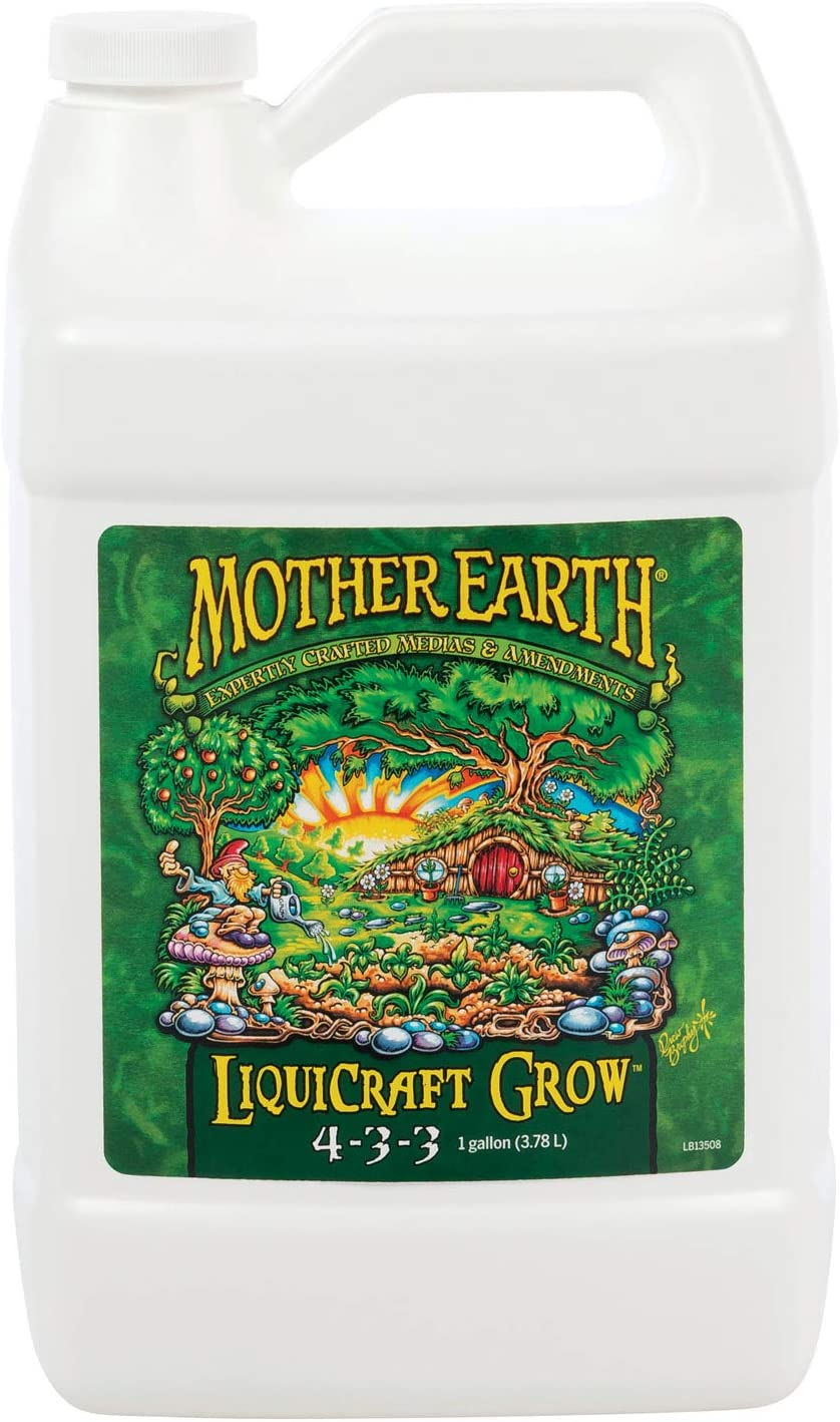 Mother Earth HGC733933 LiquiCraft Grow 4-3-3 Liquid Fertilizer for Vegetative Plants, Flowers and Tomatoes, Gallon, Natural
