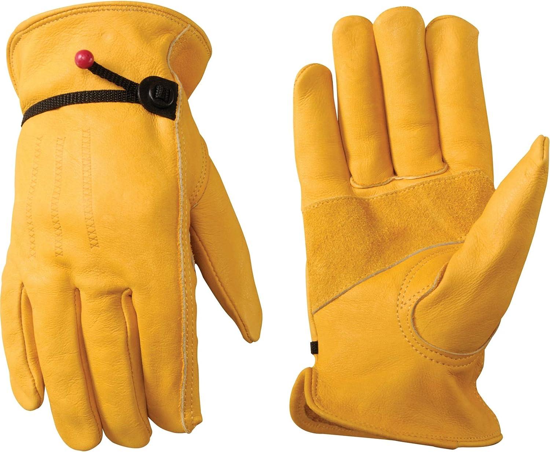 Men's Leather Work Gloves with Adjustable Wrist, Large (Wells Lamont 1132L), Saddle tan - Leather Work Gloves -