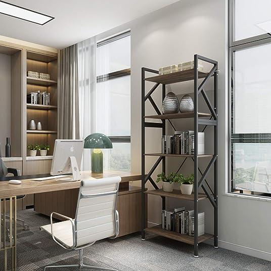 5 Shelf Bookshelf DEWEL 70 inch Industrial Bookshelf Display Open Bookcase 5-Tier Storage Organizer Rack Standing Unit Shelf
