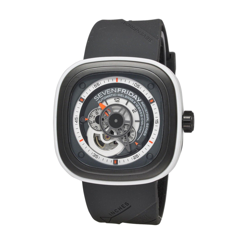Seven Friday Herren Automatikwerk Grau Kautschuk Armband Saphirglas Uhr P3-3